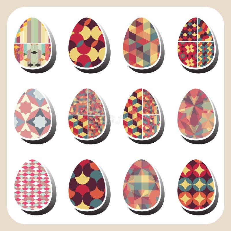 Αναδρομικό σύνολο σχεδίων αυγών Πάσχας διανυσματική απεικόνιση