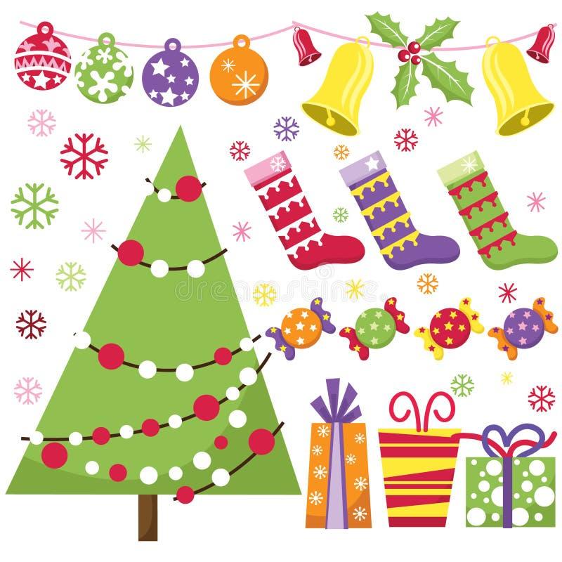 Αναδρομικό σύνολο Χριστουγέννων διανυσματική απεικόνιση