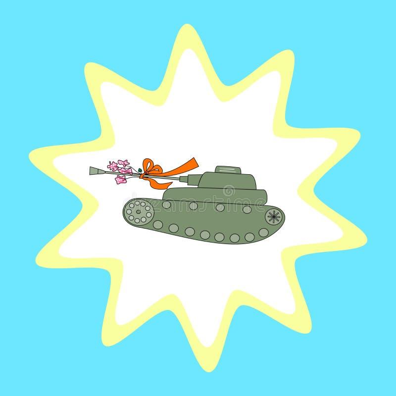 Αναδρομικό τυποποιημένο σχέδιο της στρατιωτικής δεξαμενής απεικόνιση αποθεμάτων