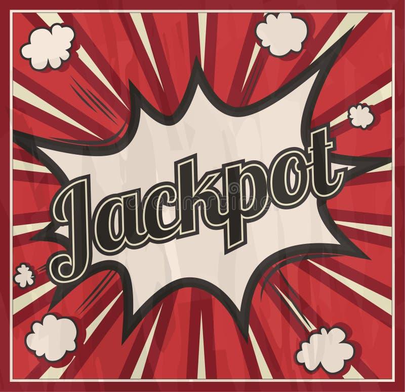 Αναδρομικό υπόβαθρο πινακίδων τζακ ποτ ύφους Έκρηξη κόμικς βραχιόνων απεικόνιση αποθεμάτων