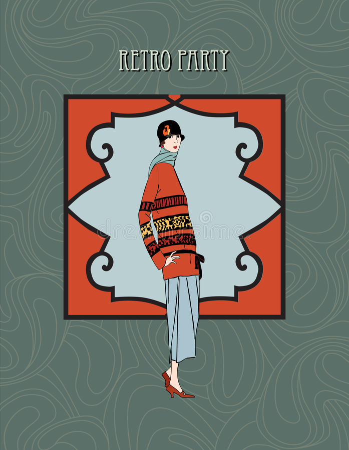 Αναδρομικό υπόβαθρο τέχνη-deco. Ύφος μόδας κοριτσιών το 1930 s απεικόνιση αποθεμάτων