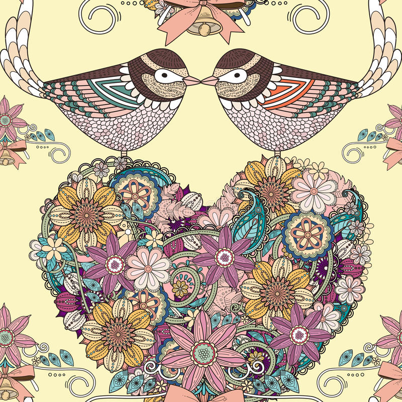 Αναδρομικό υπόβαθρο των πουλιών αγάπης διανυσματική απεικόνιση