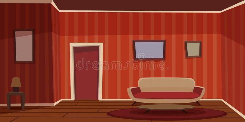 αναδρομικό δωμάτιο διαβί&ome διανυσματική απεικόνιση