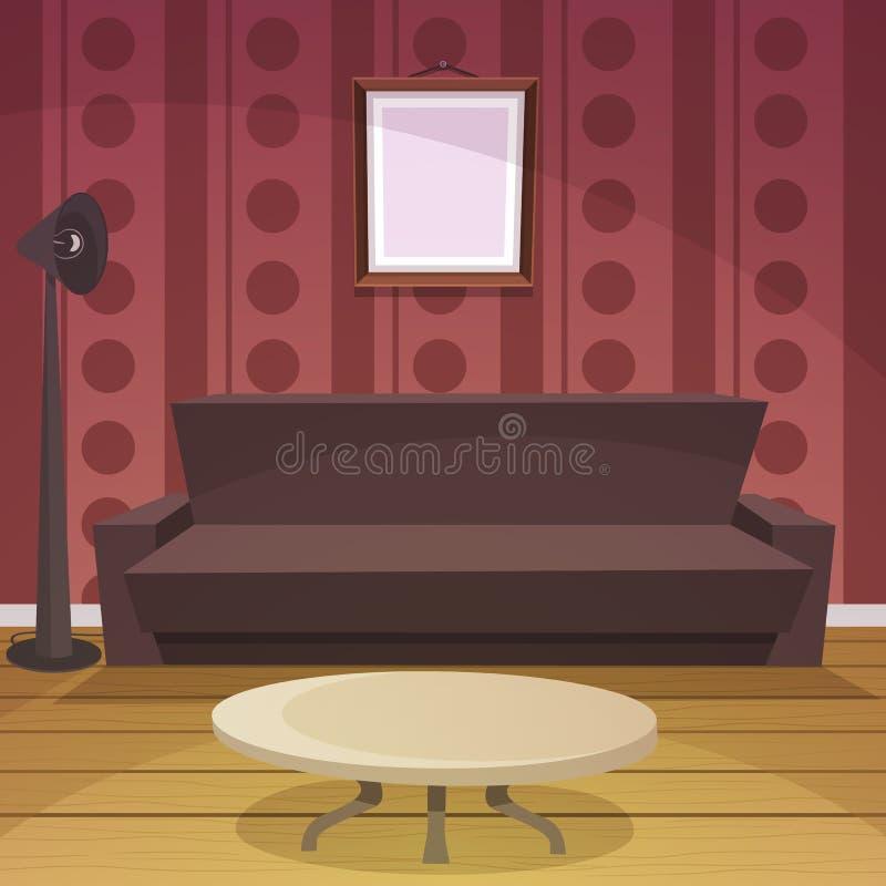 Αναδρομικό δωμάτιο - κόκκινο διανυσματική απεικόνιση