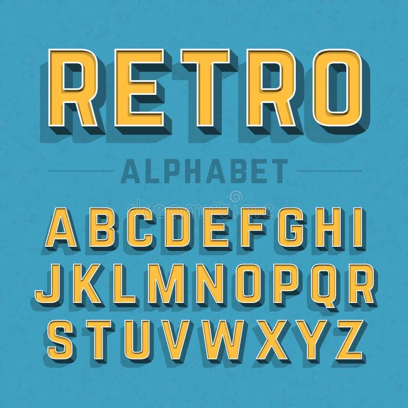 αναδρομικό ύφος αλφάβητου απεικόνιση αποθεμάτων