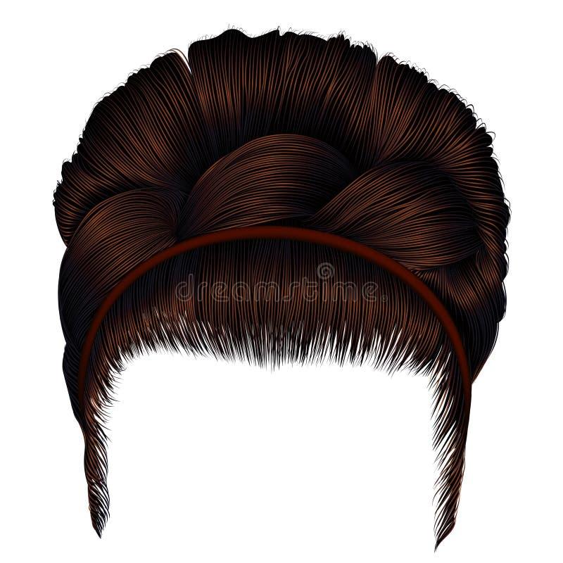 Αναδρομικό hairstyle Babette με την πλεξίδα καφετιές τρίχες γυναικών Ομορφιά μόδας διανυσματική απεικόνιση