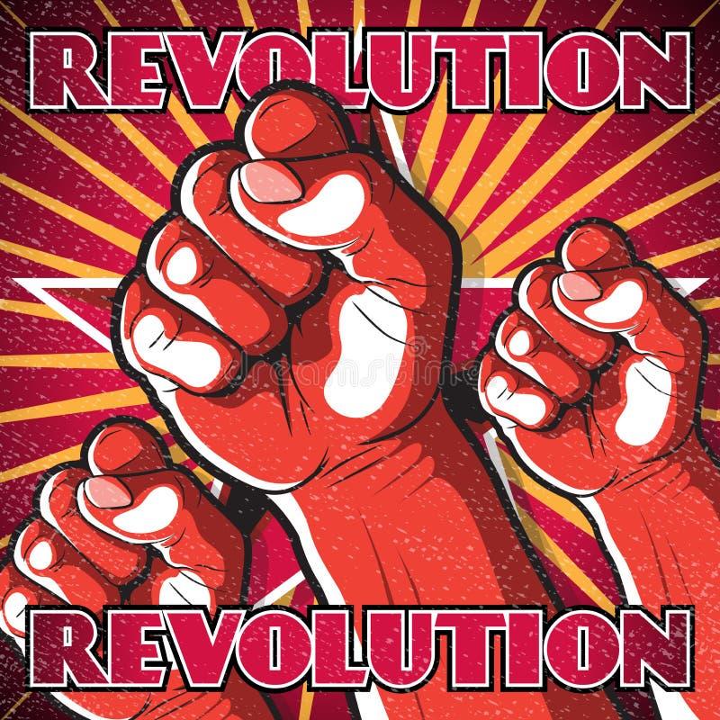 Αναδρομικό Punching σημάδι επαναστάσεων πυγμών απεικόνιση αποθεμάτων