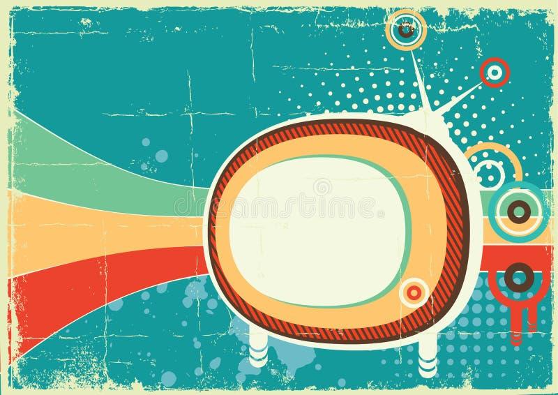 Αναδρομικό telvision στην παλαιά αφίσα απεικόνιση αποθεμάτων