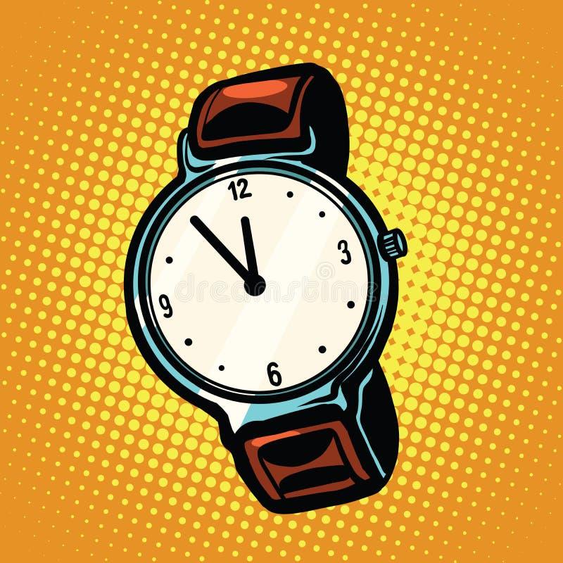 Αναδρομικό wristwatch με το λουρί δέρματος απεικόνιση αποθεμάτων