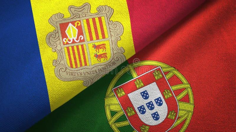 Ανδόρα και Πορτογαλία δύο υφαντικό ύφασμα σημαιών, σύσταση υφάσματος ελεύθερη απεικόνιση δικαιώματος