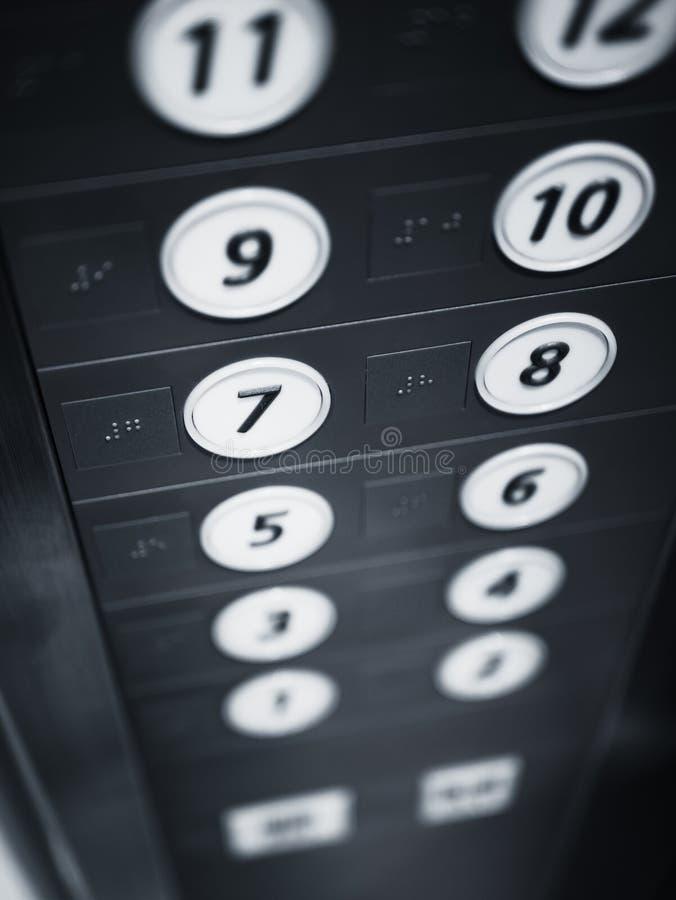 Ανελκυστήρας πατωμάτων κουμπιών ανελκυστήρων με το σύστημα σηματοδότησης μπράιγ για την ανικανότητα στοκ φωτογραφίες με δικαίωμα ελεύθερης χρήσης