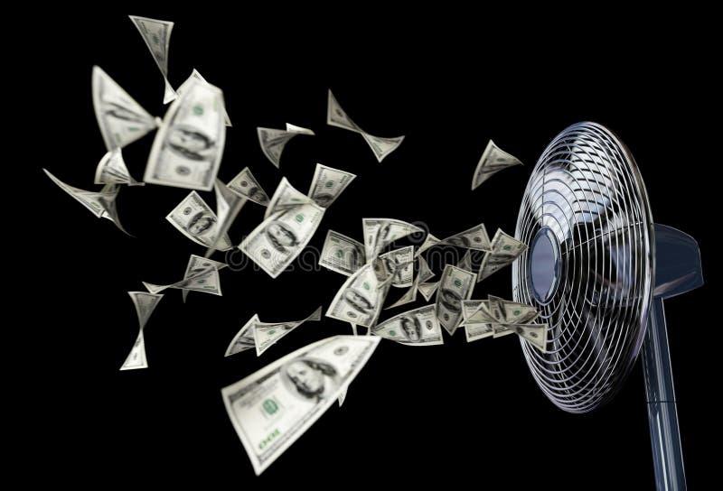 Ανεμιστήρας και σύνθεση υποβάθρου έννοιας χρημάτων τυλίγματος επιχειρησιακή στο Μαύρο απομονώσεων στοκ εικόνες
