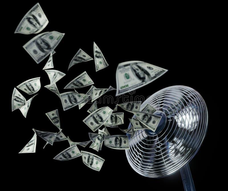 Ανεμιστήρας και σύνθεση υποβάθρου έννοιας χρημάτων τυλίγματος επιχειρησιακή στο Μαύρο απομονώσεων στοκ φωτογραφία με δικαίωμα ελεύθερης χρήσης