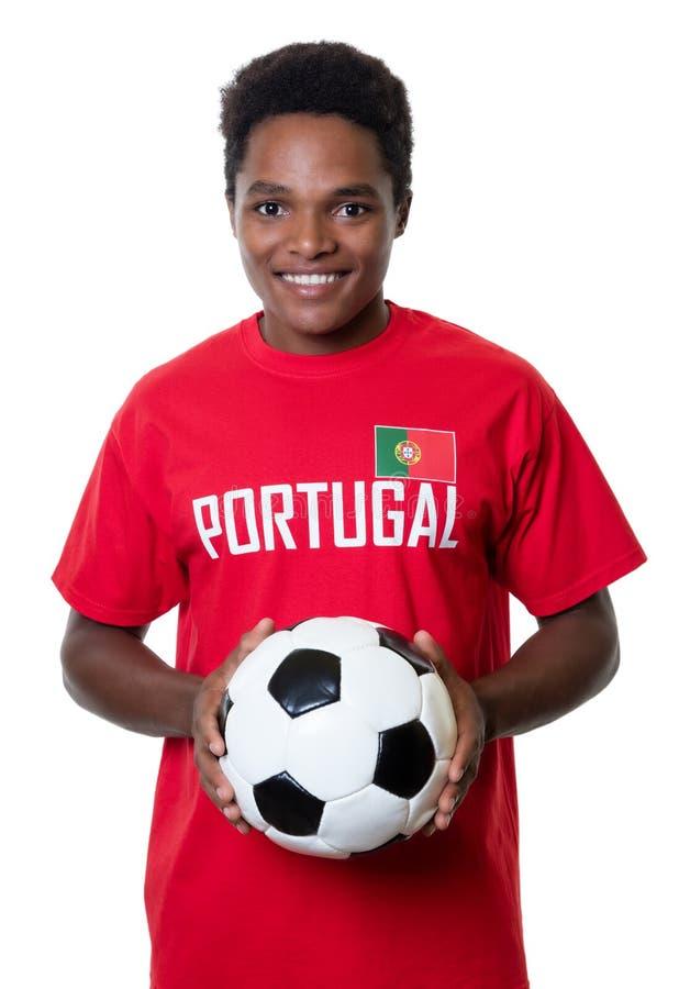 Ανεμιστήρας ποδοσφαίρου γέλιου από την Πορτογαλία στοκ φωτογραφία με δικαίωμα ελεύθερης χρήσης
