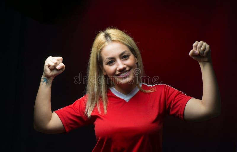 Ανεμιστήρας ποδοσφαίρου γυναικών ευτυχής στοκ εικόνες