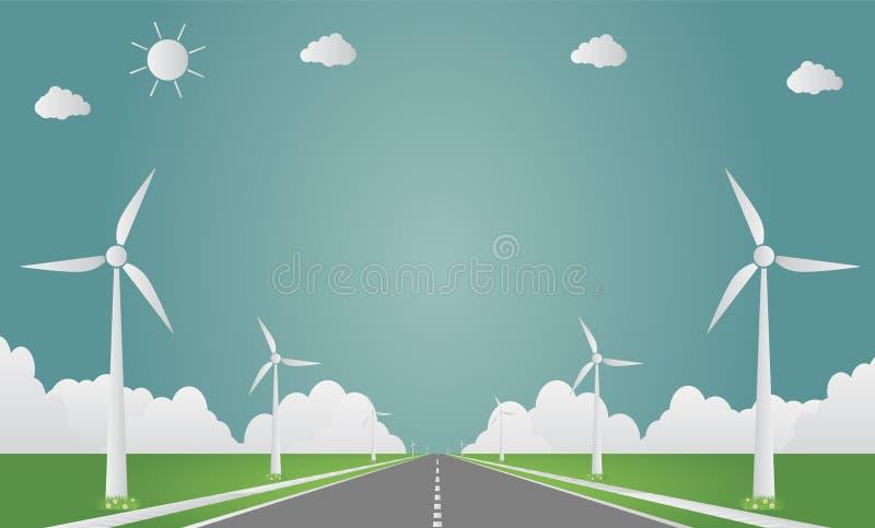 Ανεμοστρόβιλοι με τη καθαρή ενέργεια ήλιων με ιδέες οδικής τις φιλικές προς το περιβάλλον έννοιας απεικόνιση ελεύθερη απεικόνιση δικαιώματος