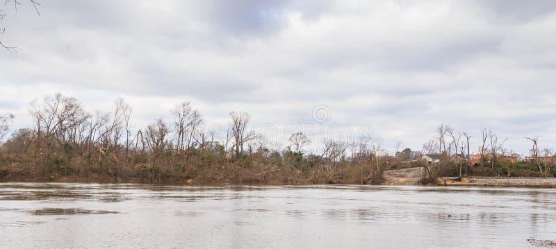 Ανεμοστρόβιλος ζημίας δέντρων που χτύπησε Wetumpka, Αλαμπάμα στοκ φωτογραφία