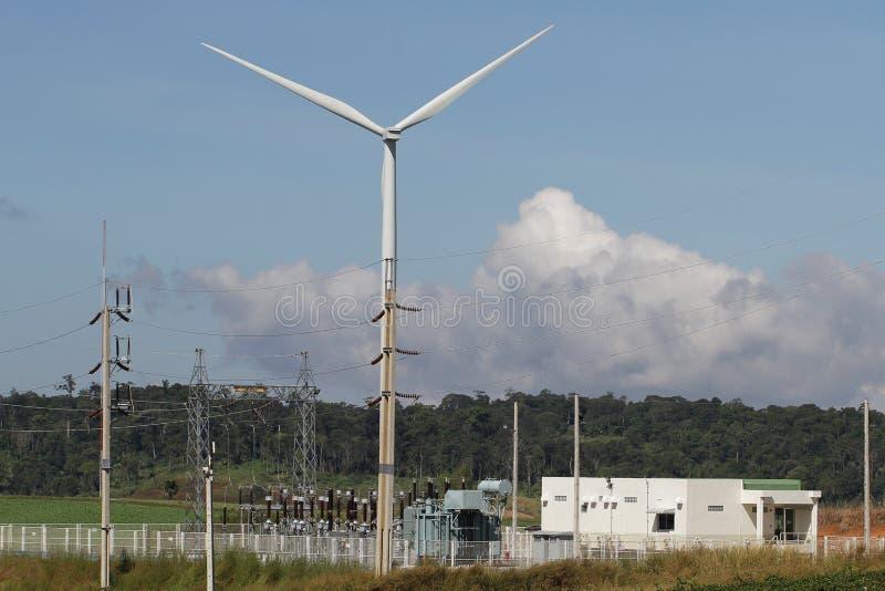 Ανεμοστρόβιλος στο σαφή μπλε ουρανό, ανανεώσιμη ενέργεια ηλεκτρικής ενέργειας, βιώσιμη έννοια ανάπτυξης δύναμης συντήρησης στον π στοκ εικόνα με δικαίωμα ελεύθερης χρήσης