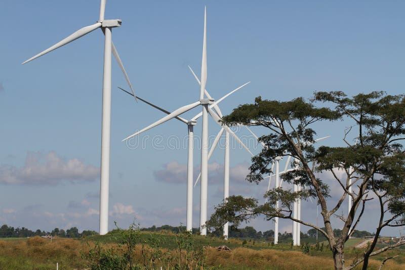 Ανεμοστρόβιλος στο σαφή μπλε ουρανό, ανανεώσιμη ενέργεια ηλεκτρικής ενέργειας, βιώσιμη έννοια ανάπτυξης δύναμης συντήρησης στον π στοκ εικόνα