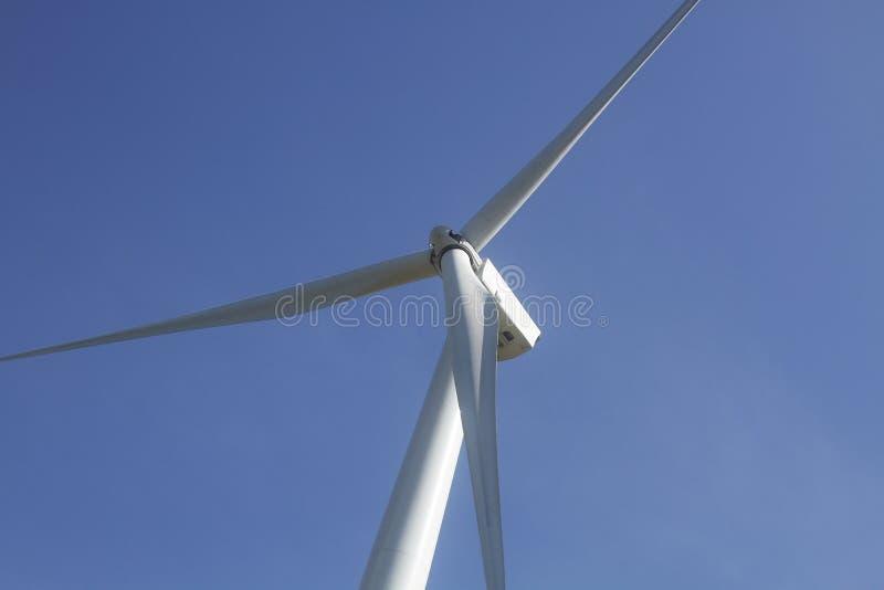 Ανεμοστρόβιλος στο σαφή μπλε ουρανό, ανανεώσιμη ενέργεια ηλεκτρικής ενέργειας, βιώσιμη έννοια ανάπτυξης δύναμης συντήρησης στον π στοκ φωτογραφία