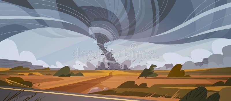 Ανεμοστρόβιλος στο τοπίο τυφώνα επαρχίας της δυσκολοπρόφερτης λέξης θύελλας διανυσματική απεικόνιση