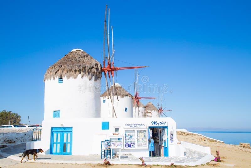 Ανεμόμυλοι της Μυκόνου, Ελλάδα στοκ εικόνα
