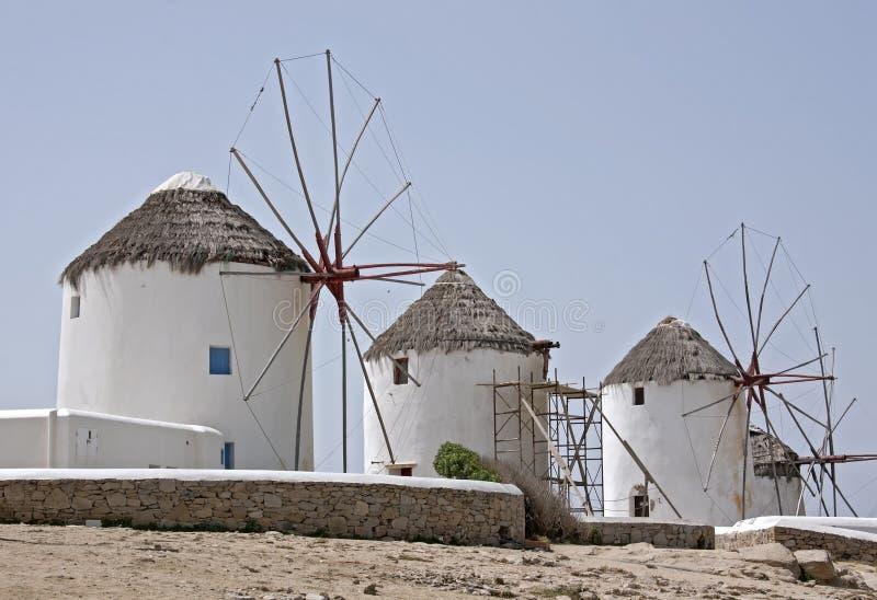 Ανεμόμυλοι Mykonean στοκ φωτογραφία με δικαίωμα ελεύθερης χρήσης