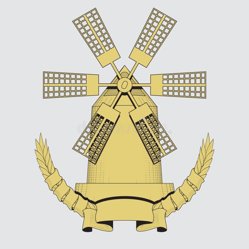 Ανεμόμυλος Γεωργία, καλλιέργεια, λογότυπο αρτοποιείων ή ετικέτα o απεικόνιση αποθεμάτων
