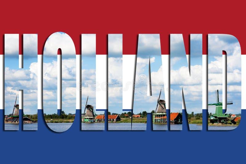 Ανεμόμυλοι της Ολλανδίας σημαιών στοκ εικόνες