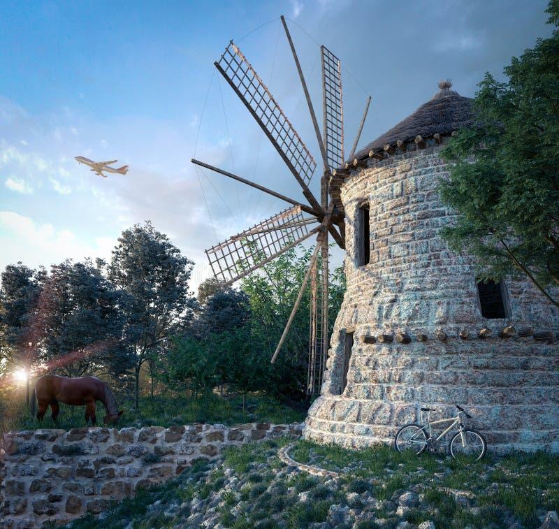 ανεμόμυλος στο υπόβαθρο ηλιοβασιλέματος και την έννοια τεχνολογίας ταξιδιού αεροπλάνων στοκ φωτογραφία με δικαίωμα ελεύθερης χρήσης