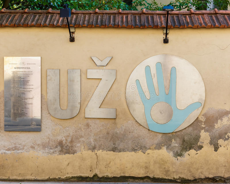 Ανεξάρτητη δημοκρατία Uzupis - παλαιά πόλη, Vilnius, Λιθουανία στοκ εικόνες