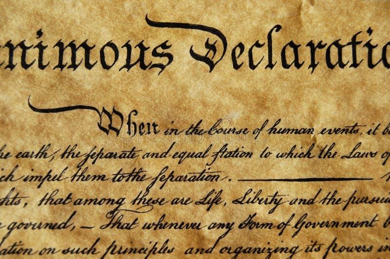 ανεξαρτησία δήλωσης στοκ εικόνα