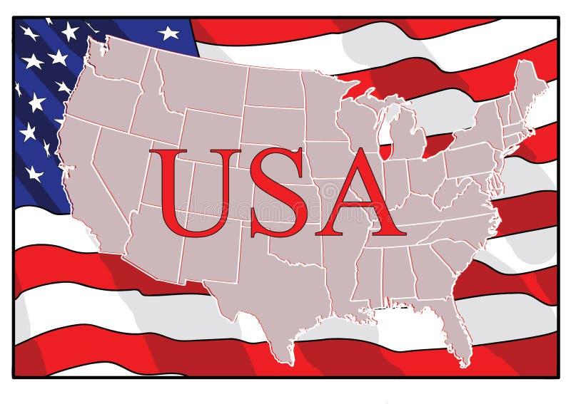 ανεξαρτησία ημέρας ανασκόπησης grunge αναδρομική Αμερικανική κάρτα ενάντια στο σκηνικό της σημαίας της Αμερικής διάνυσμα διανυσματική απεικόνιση