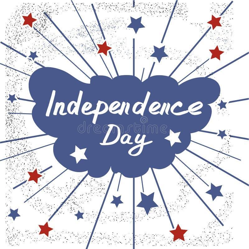 ανεξαρτησία ημέρας ανασκόπησης grunge αναδρομική εγγραφή Χειρόγραφη κάρτα σκίτσων καλλιγραφίας διανυσματική απεικόνιση