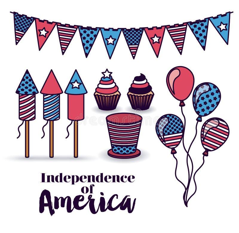 Ανεξαρτησία του σχεδίου της Αμερικής διανυσματική απεικόνιση