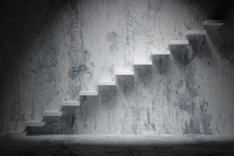 Ανερχόμενος σκαλοπάτια της σκάλας αύξησης στο τραχύ σκοτεινό κενό δωμάτιο ελεύθερη απεικόνιση δικαιώματος