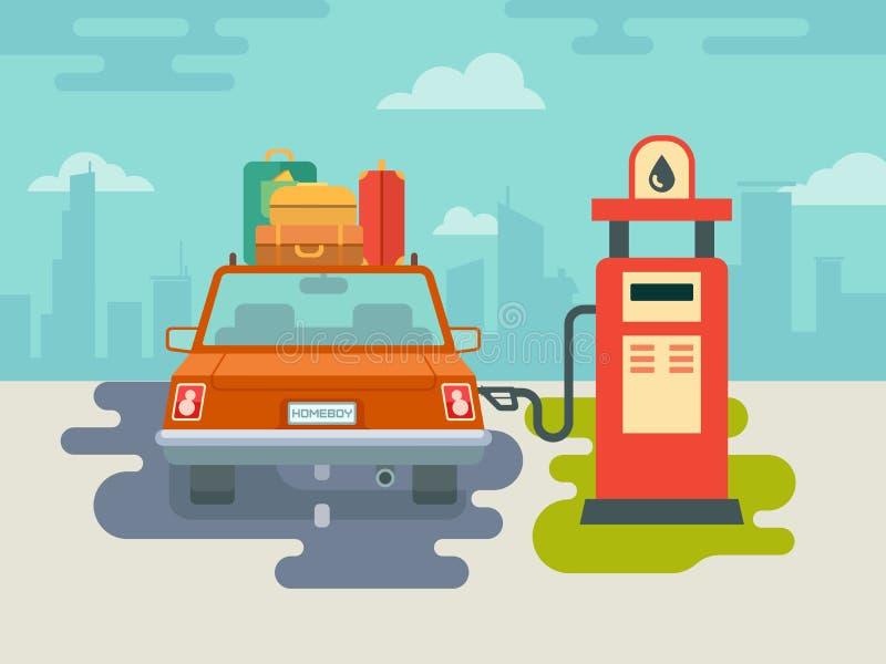 Ανεφοδιάστε σε καύσιμα το αυτοκίνητο στο βενζινάδικο διανυσματική απεικόνιση