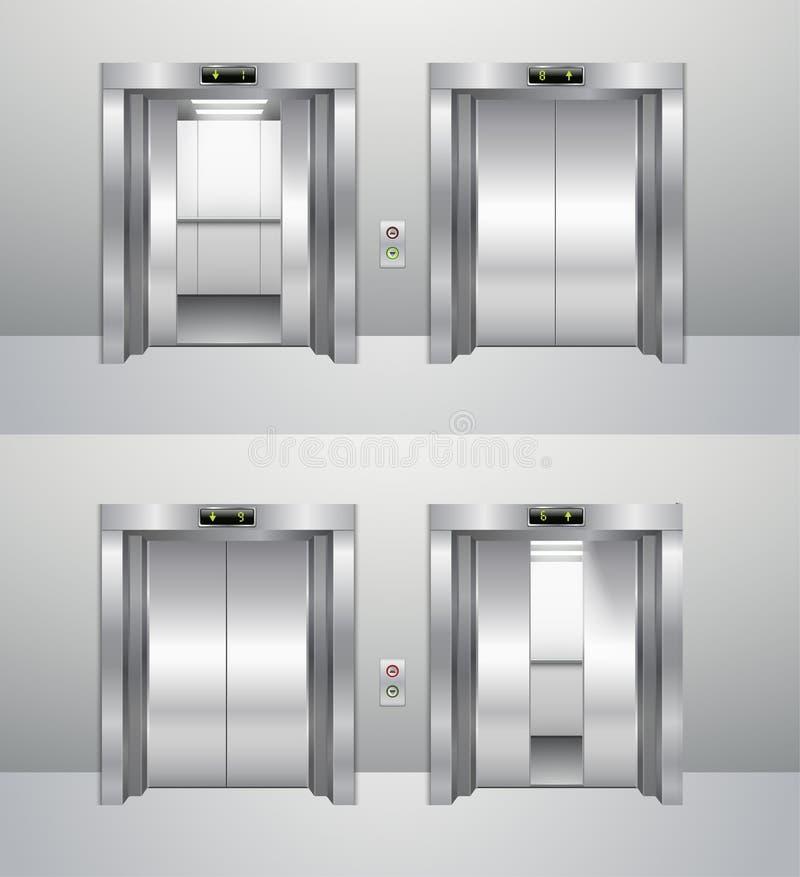 Ανελκυστήρας κλειστός και ανοικτός, άνοδος επάνω στον ανελκυστήρα και κάθοδος διανυσματική απεικόνιση