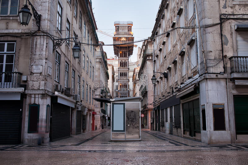 Ανελκυστήρας Justa Santa στη Λισσαβώνα στοκ εικόνες