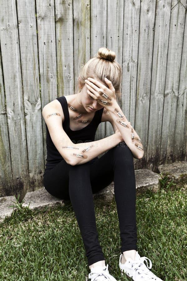 Ανησυχία κατάθλιψης εφήβων πνευματικών υγειών στοκ εικόνα με δικαίωμα ελεύθερης χρήσης