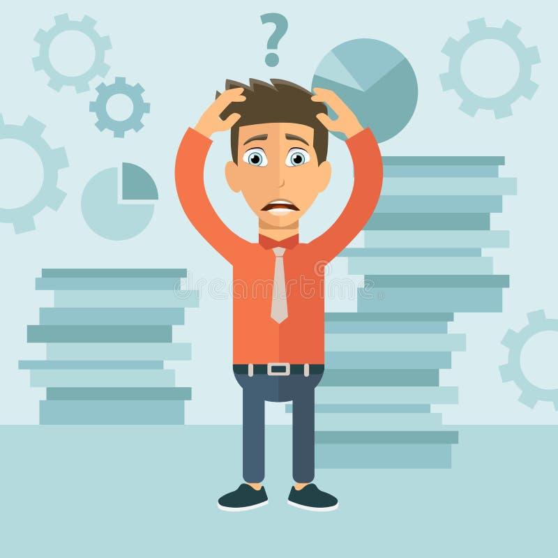Ανησυχημένος επιχειρηματίας στην αρχή Ταραγμένο άτομο με το ερωτηματικό Επίπεδο διάνυσμα απεικόνιση αποθεμάτων