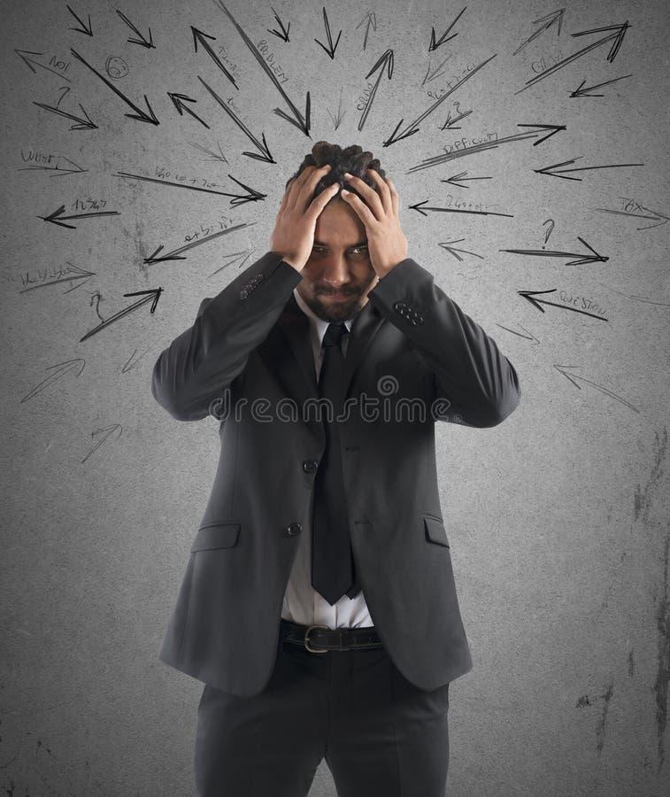 Ανησυχημένος τονισμένος επιχειρηματίας στοκ εικόνα με δικαίωμα ελεύθερης χρήσης