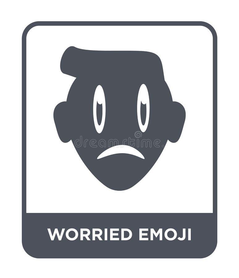 ανησυχημένο εικονίδιο emoji στο καθιερώνον τη μόδα ύφος σχεδίου ανησυχημένο εικονίδιο emoji που απομονώνεται στο άσπρο υπόβαθρο α απεικόνιση αποθεμάτων