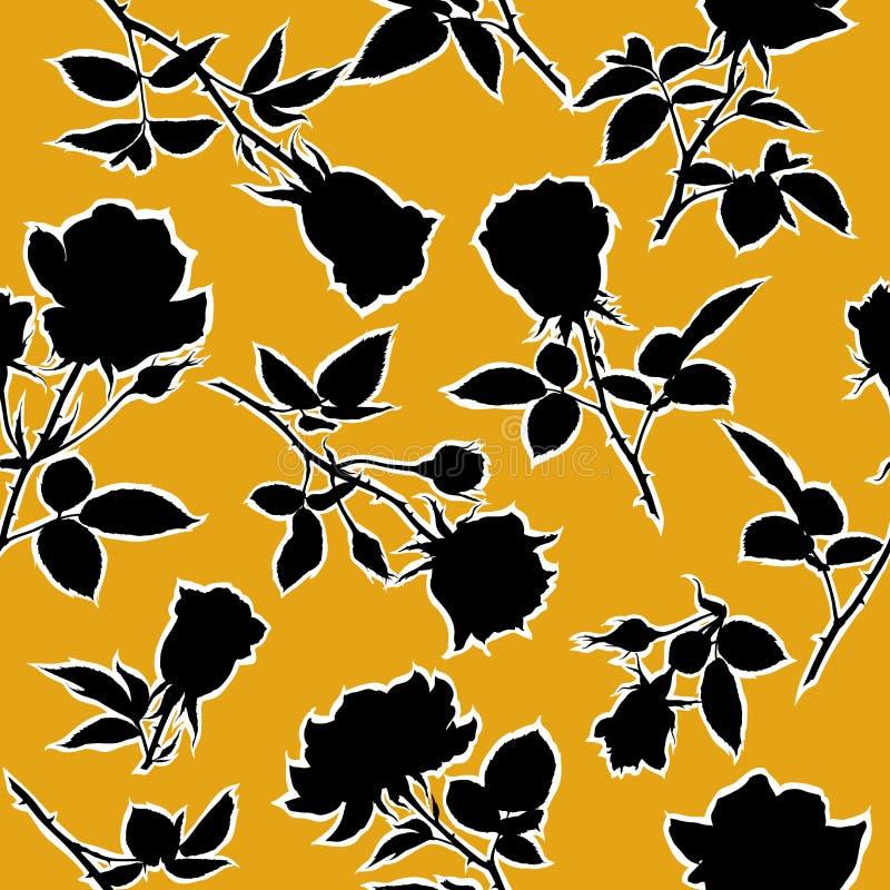 Ανθίζοντας άνευ ραφής σχέδιο τριαντάφυλλων επίσης corel σύρετε το διάνυσμα απεικόνισης ελεύθερη απεικόνιση δικαιώματος