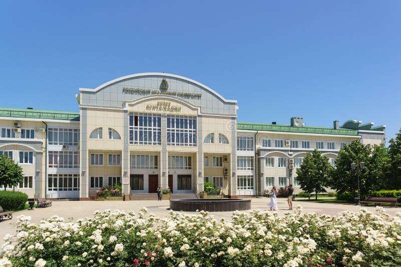 Ανθίζοντας άσπρα τριαντάφυλλα κοντά στο ισλαμικό πανεπιστήμιο Kunta Haji της Ρωσίας Σημάδι με το όνομα στα ρωσικά στοκ φωτογραφία με δικαίωμα ελεύθερης χρήσης