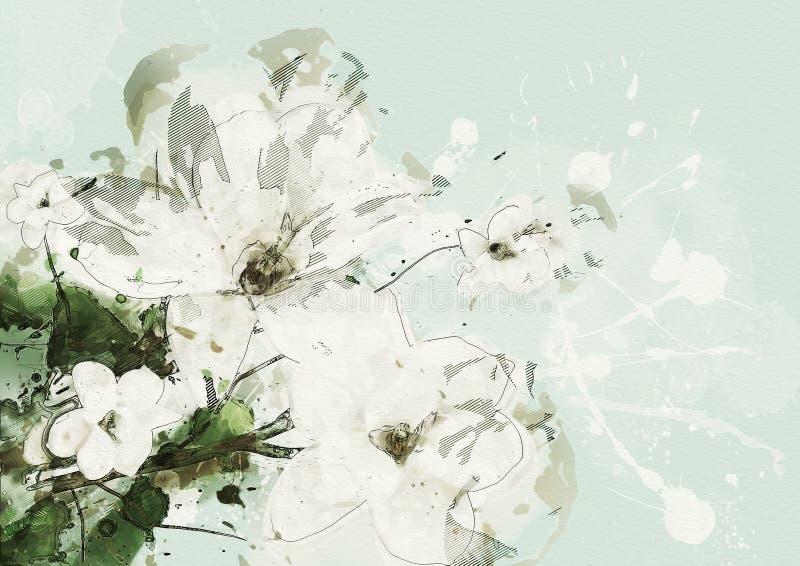 ανθίζοντας δέντρο άνοιξη της Ιαπωνίας κερασιών ανασκόπησης κοντά floral επάνω σύγχρονη ζωγραφική ελεύθερη απεικόνιση δικαιώματος