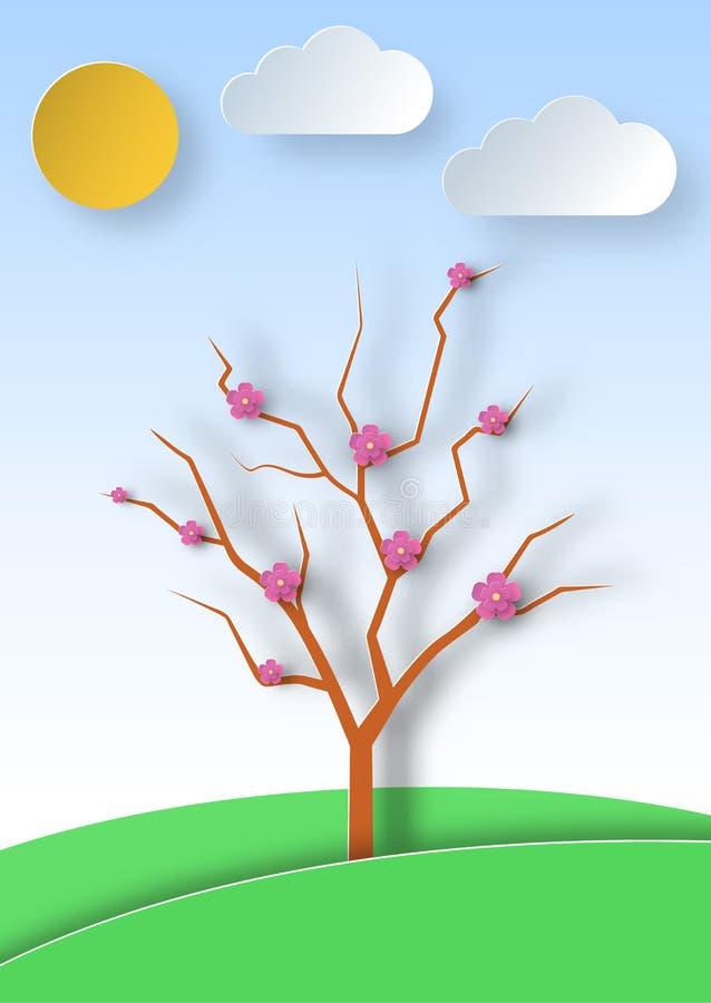 Ανθίζοντας δέντρο σε ένα υπόβαθρο τοπίων και λιβαδιών στο ύφος τέχνης εγγράφου Άνθισμα Sakura Σχέδιο ευχετήριων καρτών διανυσματική απεικόνιση