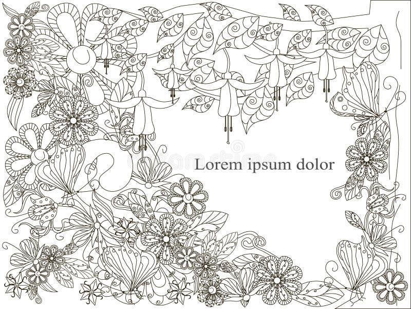 Ανθίζοντας δέντρο, φράκτης για το χρωματισμό του βιβλίου διανυσματική απεικόνιση