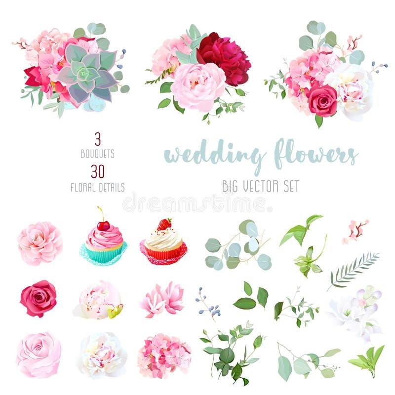 Ανθίζοντας γαμήλια λουλούδια, νόστιμα cupcakes και φύλλα μεγάλο διανυσματικό γ ελεύθερη απεικόνιση δικαιώματος