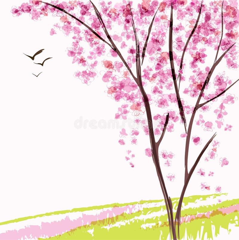 Ανθίζοντας δέντρο άνοιξη διανυσματική απεικόνιση
